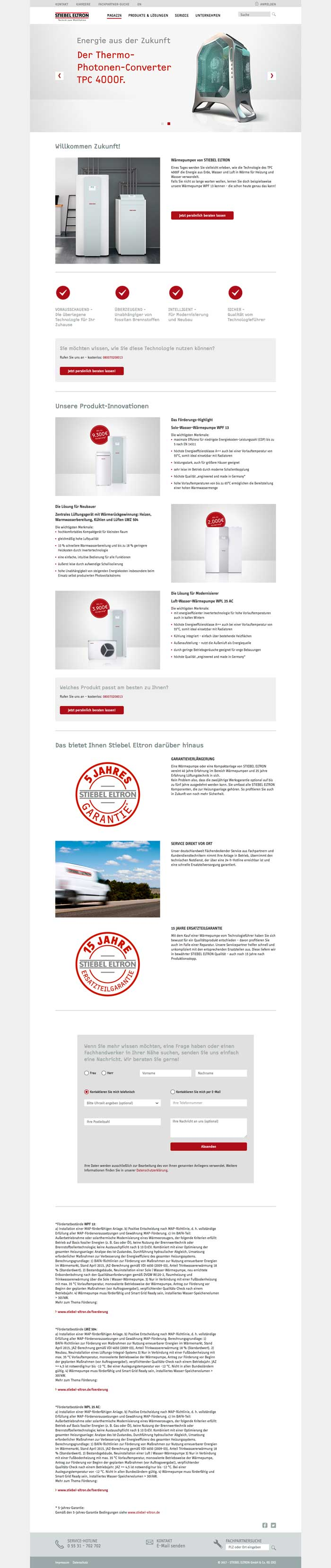 Stiebel Kampagnenseite - desktop
